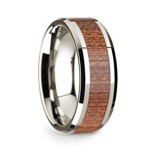 14k White Gold Mens Wedding Band Polished Beveled Edges Wedding Ring with Cherry Wood Inlay 8mm