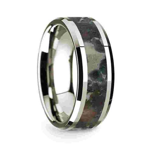 14k White Gold Mens Wedding Band Polished Beveled Edges Wedding Ring with Coprolite Inlay 8mm