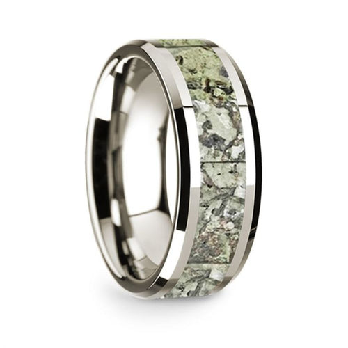 14k White Gold Mens Wedding Band Polished Beveled Edges Wedding Ring with Green Dinosaur Bone Inlay 8mm