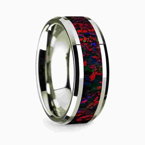 14k White Gold Mens Wedding Band Polished Beveled Edges Wedding Ring with Black and Red Opal Inlay-8mm