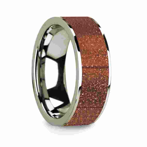 Mens 14k White Gold Wedding Ring with Orange Goldstone Inlay 8mm
