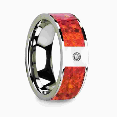 Thorsten Red Opal Inlaid Polished 14k White Gold Men's Wedding Ring with Diamond Accent 8mm