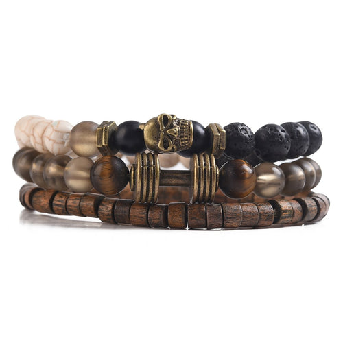 Mad Man Tribal Stone Men's Viking Bracelet Stack