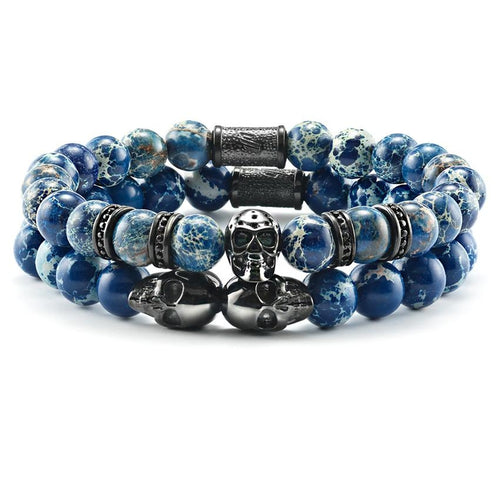 SkeletonHD-Limited Edition Infinity Box Mens Stacked Bracelets Phantom and Aviator Skull Bracelet