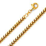 William Francis 18K Yellow Gold Mens Square Franco Chain Necklace 5mm
