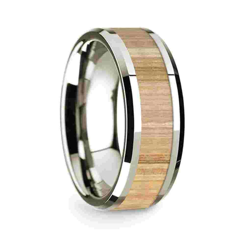 Thorsten 14k White Gold Polished Beveled Edges Wedding Ring with Ash Wood Inlay-8mm