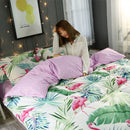 4Pcs Flamingo Bedding Set Tropical Plant Quilt Cover Queen Full King Size Home Bed Set