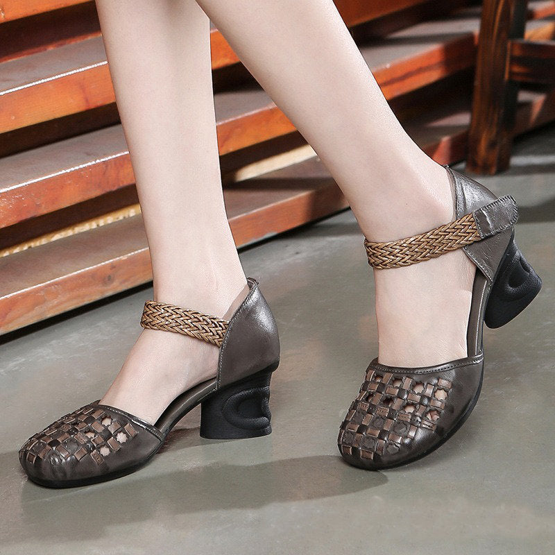 Women Retro Handmade Braided Genuine Leather Hook Loop Round Toe Low Heels Pumps Shoes
