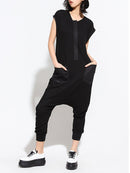 Solid Color Patchwork Short Sleeve Casual Harem Jumpsuit