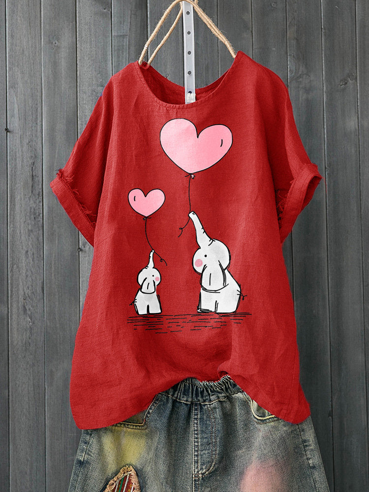 Casual Print Elephant Balloon Short Sleeve Summer T-Shirt
