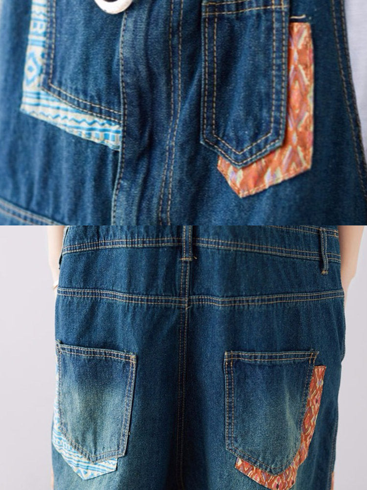 Print Patch Ripped Denim Romper For Women