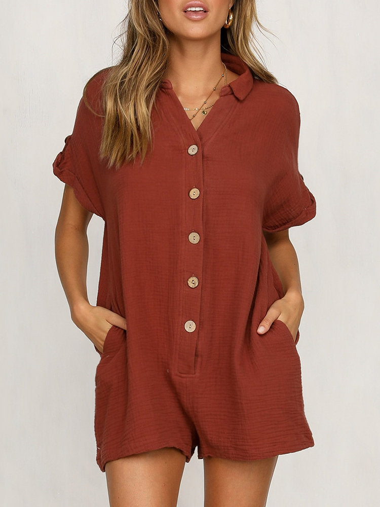 Solid Color Short Sleeve Loose Short Jumpsuit For Women