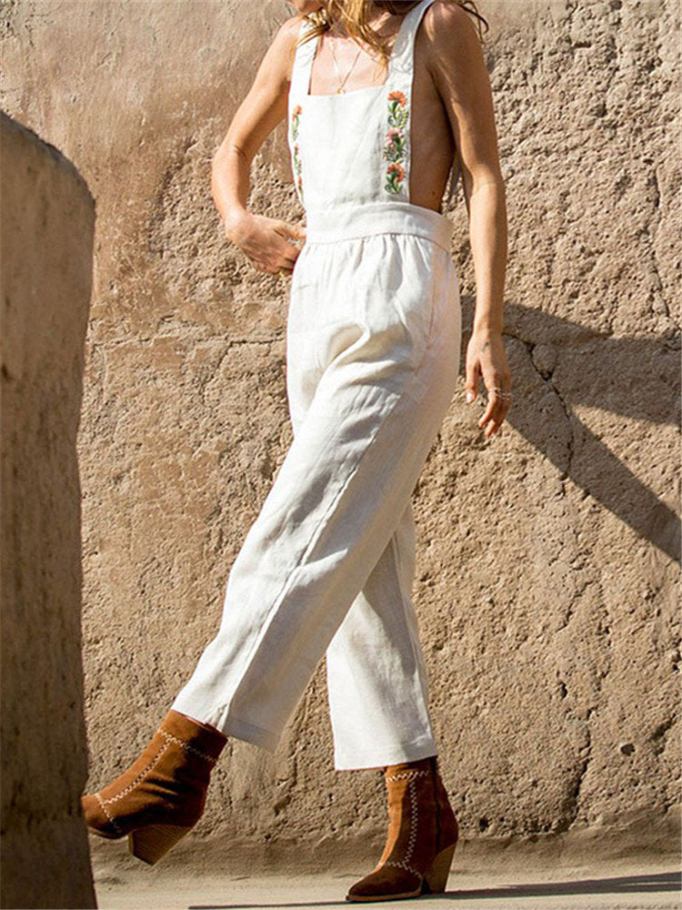 Embroideried Casual Solid Color Straps Pockets Jumpsuit