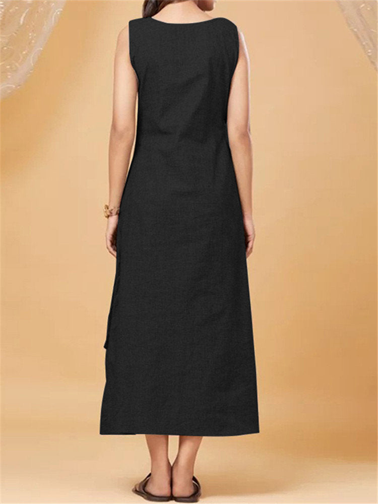 Vintage Asymmetrical Hem Button Sleeveless Dress