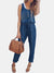 Women Sleeveless Button Drawstring Harem Jumpsuit
