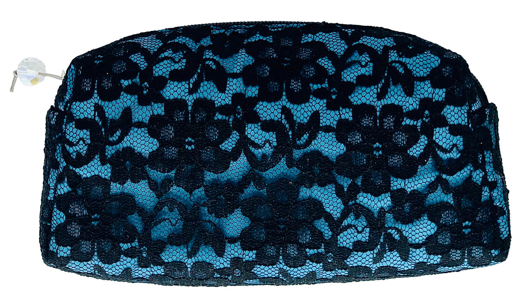 Teal Lace Cosmetic Pouch