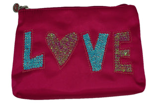 Satin LOVE Pink Cosmetic Bag