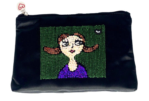 Kate Satin Black Cosmetic Bag