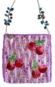 Cherry Sequin Handbag w/ Jewel Strap