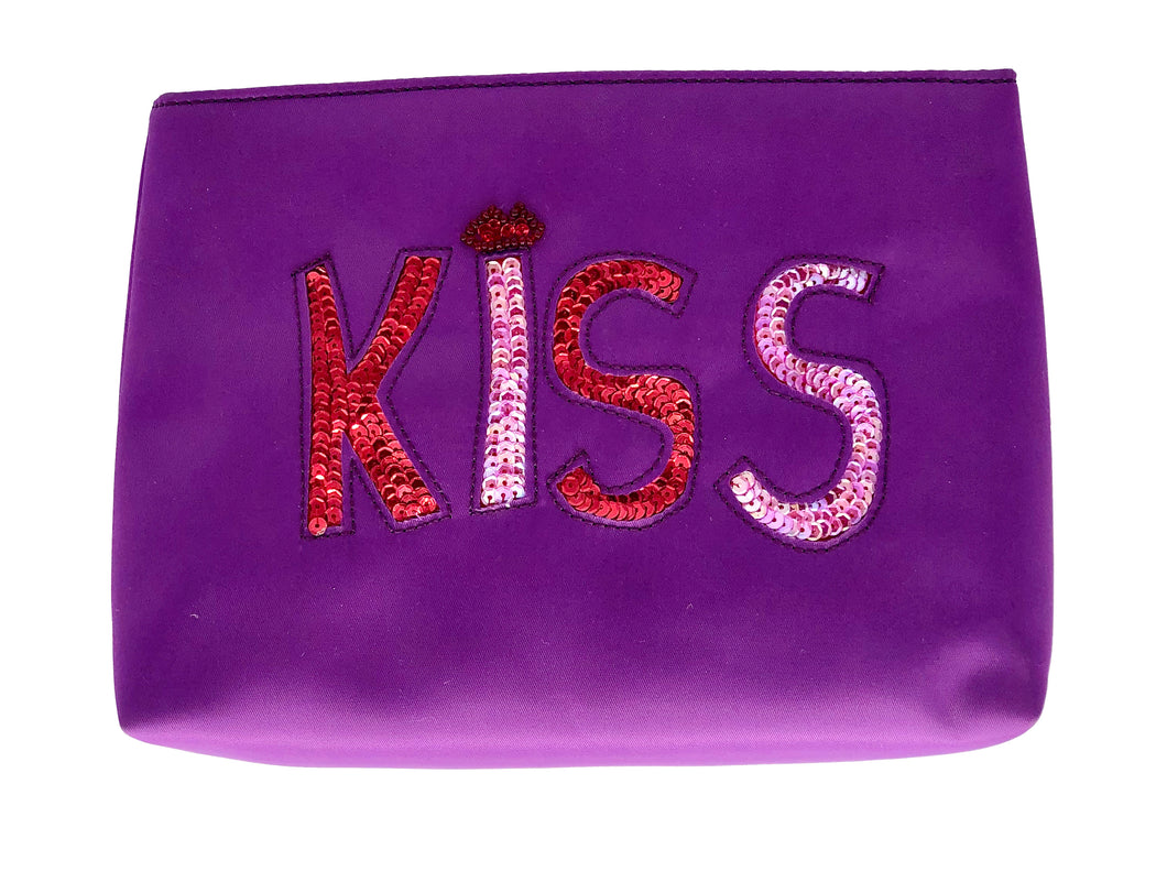 Satin KISS Purple Cosmetic Bag