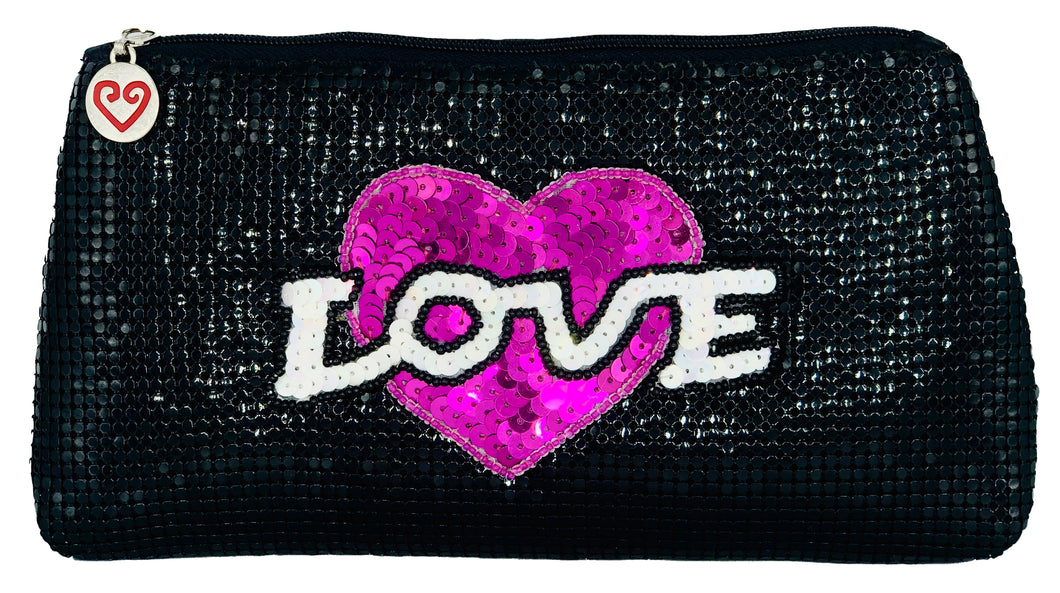 Black Mesh Love Large Pouch