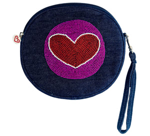 Red Heart Denim Canteen Clutch