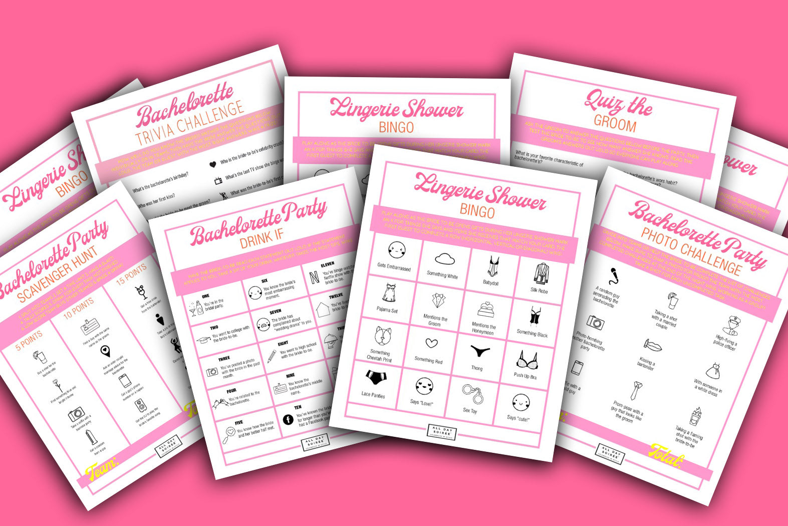 bachelorette party games scavenger hunt drink if quiz the groom fun bridal shower games cards free printable instant download