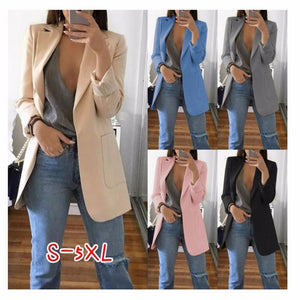Wipalo Plus Size 2019 Women Elegant Slim Casual Solid Business Blazer Bodycon Long Blazers Jacket Ladies Spring Autumn Suit