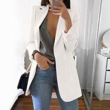 Load image into Gallery viewer, Wipalo Plus Size 2019 Women Elegant Slim Casual Solid Business Blazer Bodycon Long Blazers Jacket Ladies Spring Autumn Suit