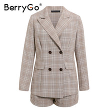 Load image into Gallery viewer, BerryGo Two-piece women plaid blazer suit Double breasted high street female blazer shorts set Business office ladies blazer set