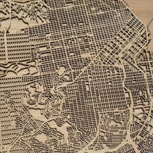 Load and play video in Gallery viewer, Berkeley and Oakland, CA - 15x15in Laser Cut Wooden Map