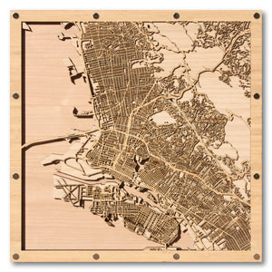 Berkeley and Oakland, CA - 15x15in Laser Cut Wooden Map