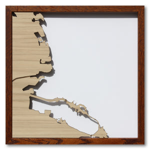 Berkeley and Oakland, CA - 15x15in Upcycled Laser Cut Wooden Map