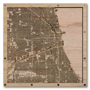 Chicago, IL - 15x15in Laser Cut Wooden Map
