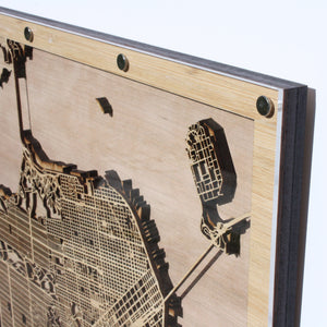 Manhattan, NY - 15x15in Laser Cut Wooden Map