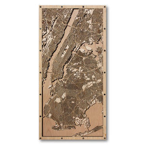 New York City, NY - 15x30in Laser Cut Wooden Map