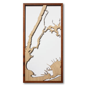 New York City, NY - 15x30in Upcycled Laser Cut Wooden Map