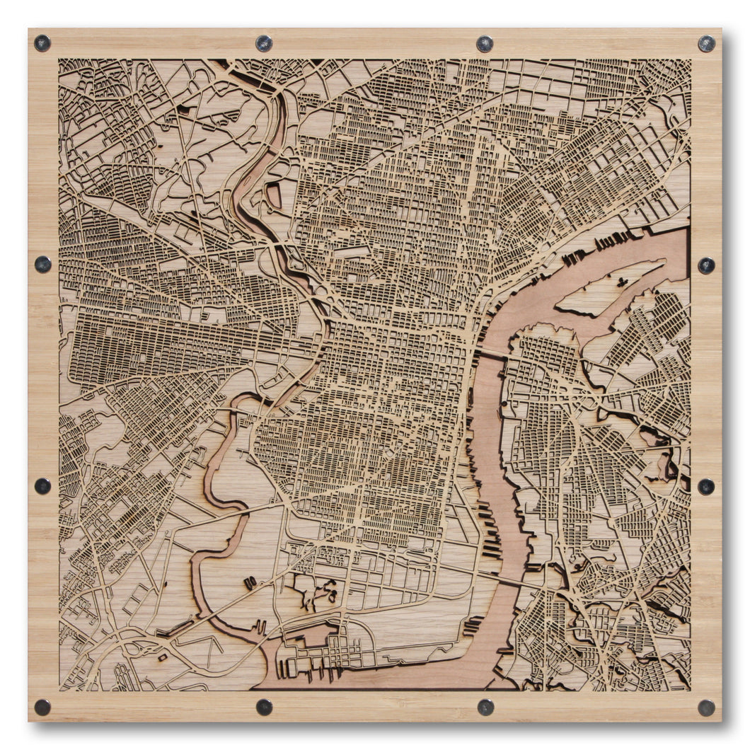 Philadelphia, PA - 15x15in Laser Cut Wooden Map