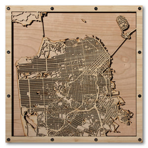 San Francisco, CA - 15x15in Laser Cut Wooden Map