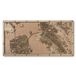 San Francisco, Oakland and Berkeley, CA - 30x15in Laser Cut Wooden Map