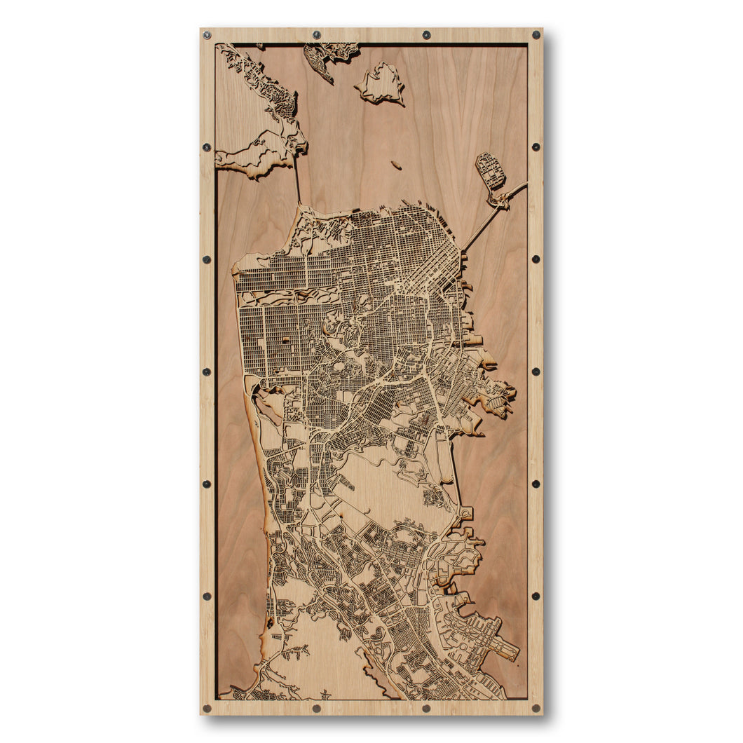 San Francisco Peninsula, CA - 15x30in Laser Cut Wooden Map