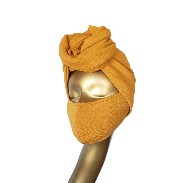 Mustard Satin Lined Turban And Mask Set - CC L'amour