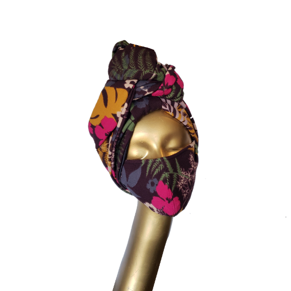 Fleur Satin Lined Turban And Mask Set - CC L'amour