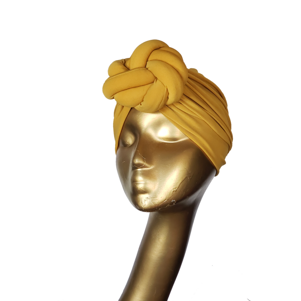 Mustard Twist Knot Pre-tied Turban - ChiChi L'amour