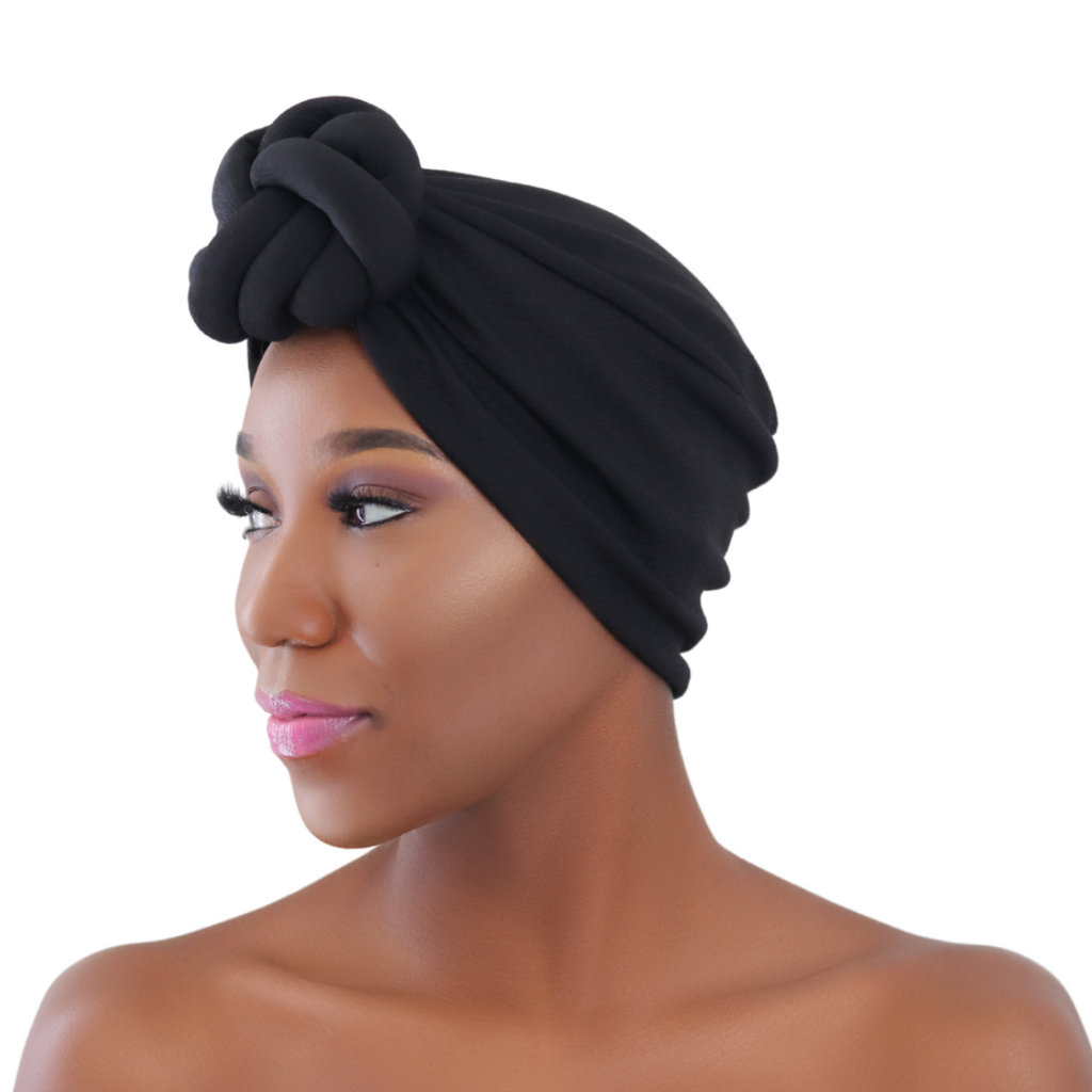 Black Pre-tied Turban - CC L'amour