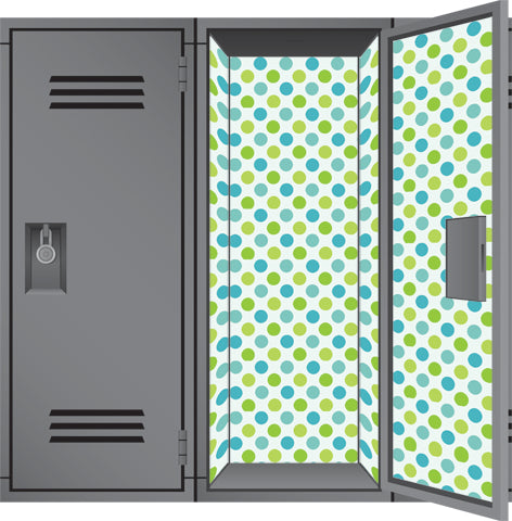 Blue Green Cool Dot - Back to School Deluxe Magnetic Locker Wallpaper
