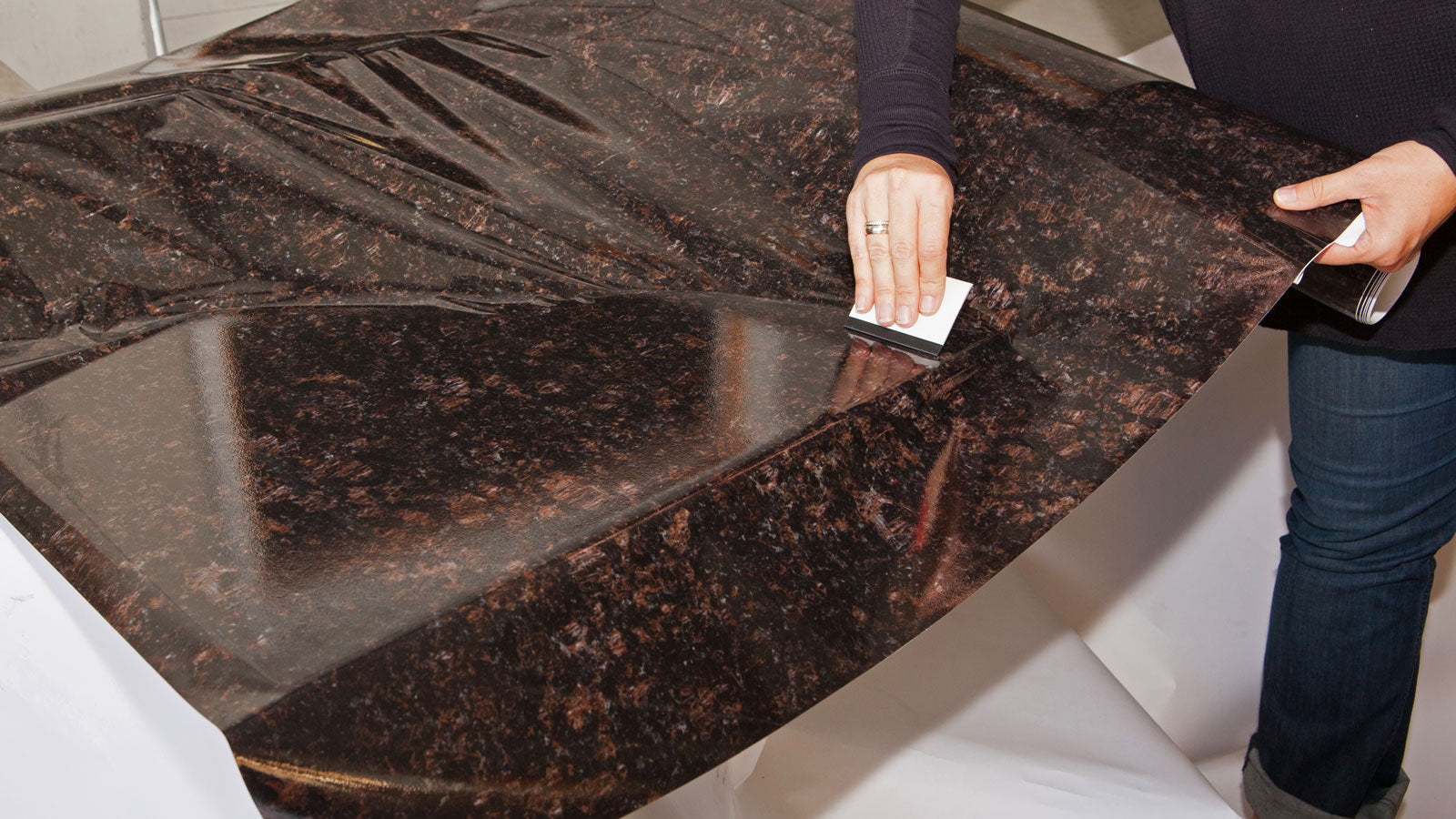 Instant Granite In Chestnut Counter Top Film 36 Wide Self Adhesive Vinyl Laminate Faux Peel And Stick Self Application Easy Home Renewals
