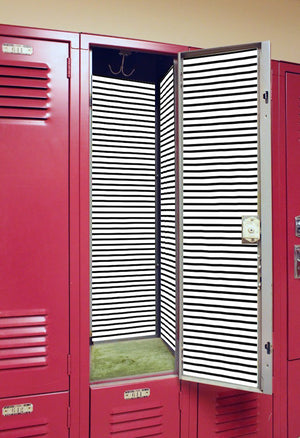 Black Pinstripe - Back to School Deluxe Magnetic Locker Wallpaper