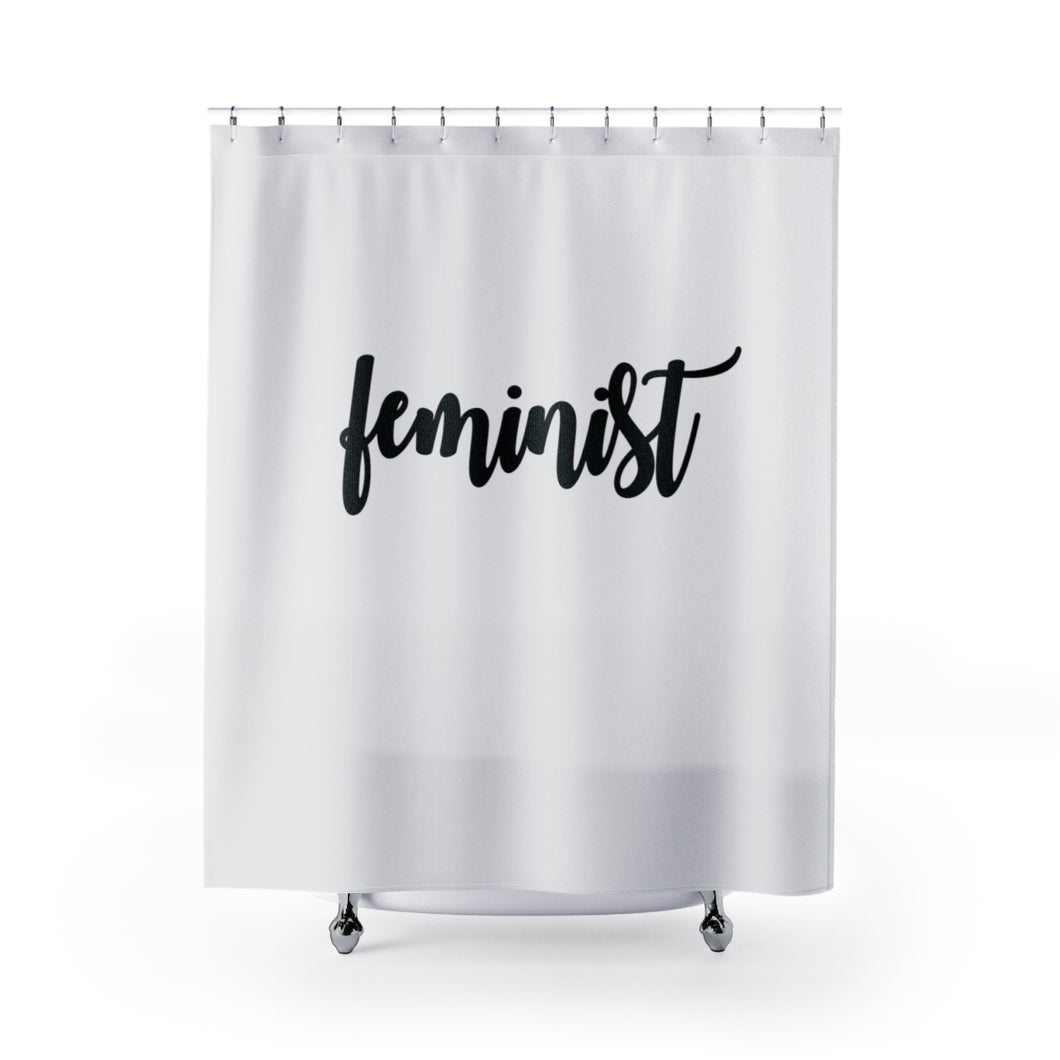 Light Gray Feminist Shower Curtain
