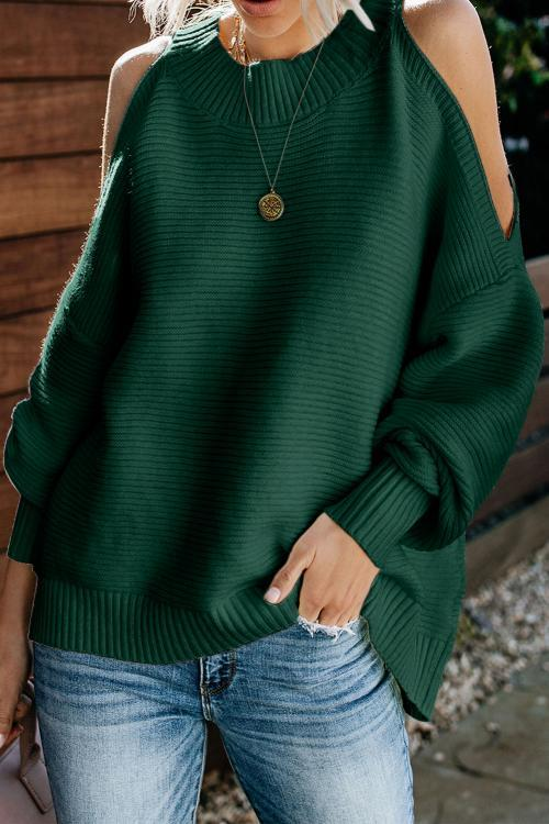 Green Cold Shoulder Long Sleeve Pullover Sweater